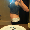 I was 5 weeks pregnant here but this illustrates the lower ab bulge that I had from the distasis recti.