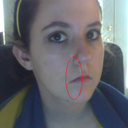 This shows the corners and how they droop a bit, as well as the weird indentions from my cheeks around my nose that I would like to be  removed.