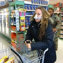 Day one. Grocery store already, lots of flood dripping out of my nose. That's what that contraption is there for above my lip