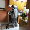 My best friend cooking for me.  My diva cat begging for food as usual.