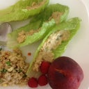 Mock tuna on lettuce with a quinoa salad n fruit. Yim