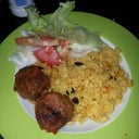 Umm my fav so far, meatballs rice with corn oninon bell peppers n raisins n side salad