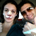 Day 1: Surgery.  My bf and I driving home from the hospital looking sexy!