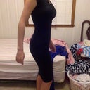"BEFORE PICTURE BLACK DRESS ""ADD 2 CUP SIZES"" VS BRA ON"