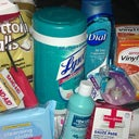 Cotton, Lysol wipes, disposable wipes to clean after #2 very useful, Dial antibacterial wash, gloves, small roller, cold pressed sesame oil, medical tape, measuring tape, gauze pads, benadryl, hibiclens, bandages, hydrogen peroxide, and  alcohol pads