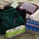 Recovery center- zip up fleece, pajama pants, sippy straws, non-stick gauze, baby wipes, face wipes, multivitamins, meds in pill box