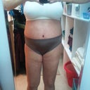 Day 8 Front.  Thighs are majorly swollen from the water retention! I do see a waist!!