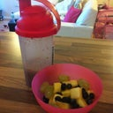 My mornings grazing. Protein shake and fruits!