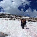 Wind River Range, Wyoming. I'm the one wearing shorts in the front. This was in August