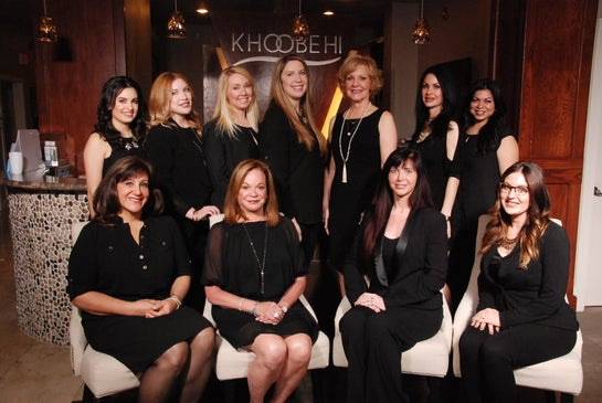 Staff of Khoobehi & Associates. Back row: Jami, April, Katie, Melissa G, Karen, Lisa, Tracy. Front row: Joan, Cheryl, Melissa M, Ashley.