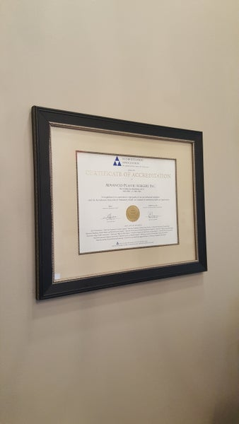 AAAHC certificate for our in-office surgery suite.